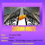 31 marca 2020 o 19:15-Spotkanie otwarte – online na Zoom-ie